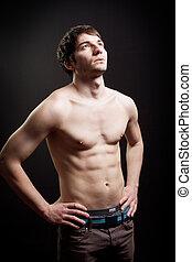 muscolare, addome, uomo, sexy, corpo