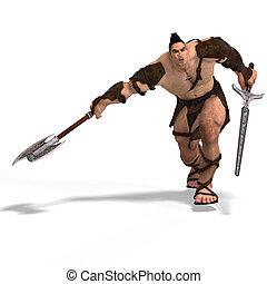 muscolare, barbaro, lotta, con, spada, e, ascia