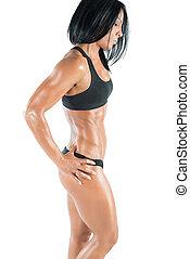 muscolare, corpo donna, sexy