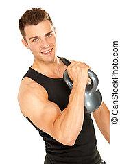 muscolare, dall'aspetto, macchina fotografica, dumbbell, sollevamento, uomo