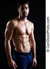 muscolare, fondo., uomo, scuro, bello