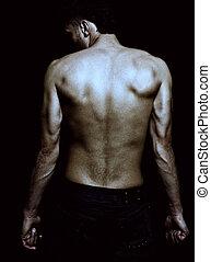 muscolare, maschio, magro, sexy, proposta, indietro, moda