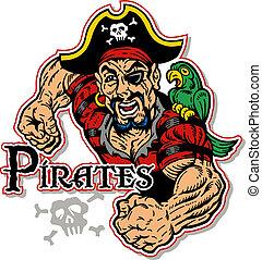 muscolare, pirata, con, pappagallo