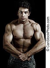 muscolare, potente, uomo, esposizione, suo, muscoli