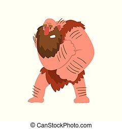 Primitivo preistorico caveman carattere muscolare vettore