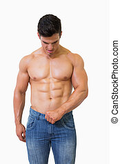 muscolare, shirtless, uomo
