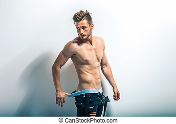 muscolare, shirtless, uomo, sexy