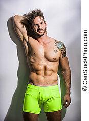 muscolare, uomo, bello, shirtless, estratti