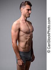 muscolare, uomo, bello, studio, shirtless, colpo