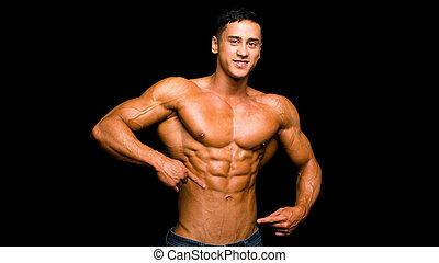 muscolare, uomo, dito, fondo, nero, suo, abs, shirtless, sopra, esposizione, sexy