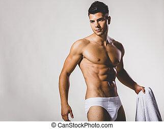 muscolare, uomo, giovane, bello, studio, proposta