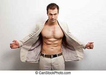 muscolare, uomo, moda, colpo, sexy