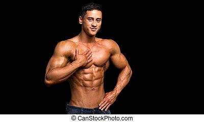 muscolare, uomo, toccante, fondo, nero, torace, suo, shirtless, sopra, sexy