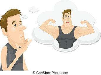 muscoli, bersaglio, illustrazione, uomo