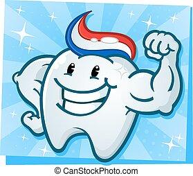 muscoli, flessione, forte, dente