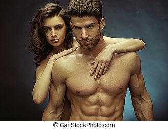 musculaire, beau, homme, et, sien, sensuelles, petite amie