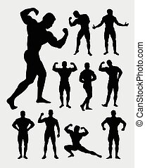 musculaire, culturiste, type, silhouette