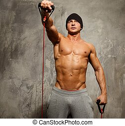 musculaire, exercice, corps, homme, beau, fitness