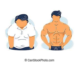 musculaire, fort, obésité, homme, fitness, graisse
