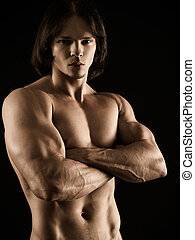 musculaire, homme, jeune, armes traversés