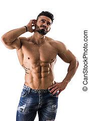 musculaire, homme, ou, confondu, incertain, sans chemise