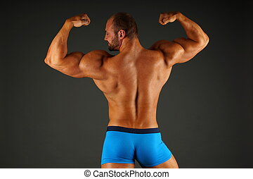 musculaire, homme, spectacles, sien, dos