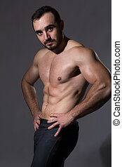 musculaire, homme, topless, beau, corps