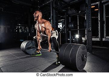 musculaire, levage, deadlift, hommes
