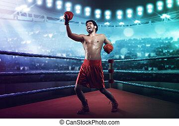 musculaire, mâle asiatique, boxeur, lancement, une, uppercut