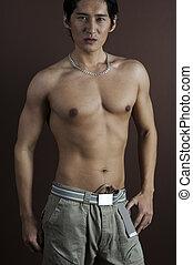 Muscular 6 - A muscular asian model displays an impressive ...