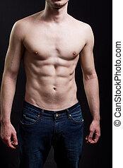 muscular, abdome, homem, corporal, excitado