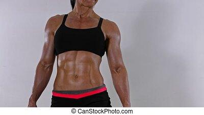 Muscular abdomen of woman - Muscular abdomen of fitness...
