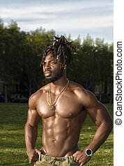 Muscular African American Man in the Park