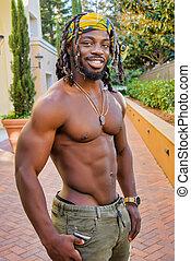 Muscular African American Man Posing