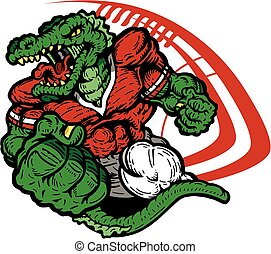 alligator football - muscular alligator football player...