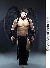muscular, anjo, sujeito, bonito, caído, posar