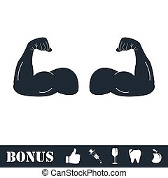 Muscular arm icon flat
