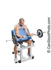 muscular, atleta, hombre que ejercita, en, un, fondo blanco