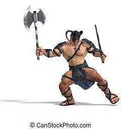 muscular, bárbaro, luta, com, espada, e, machado