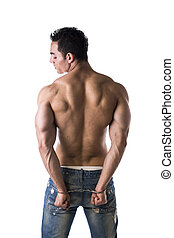 Muscular back of male bodybuilder handcuffed, isolated on...
