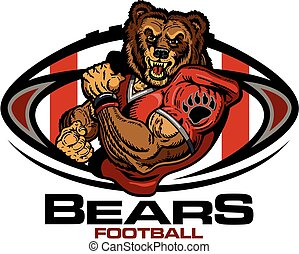 muscular bears football player team design for school, college or league