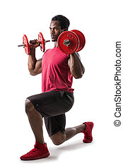 Muscular black man exercising with dumbbells, isolated