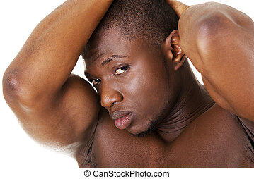 Muscular black man shirtless