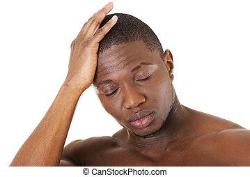 Muscular black man shirtless