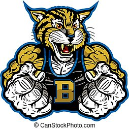 bobcat mascot - muscular bobcat mascot with fists up for ...