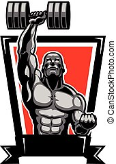 Muscular Body Builder - Vector Illustration of Muscular Man...