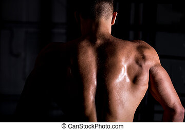 Muscular bodybuilder guy back