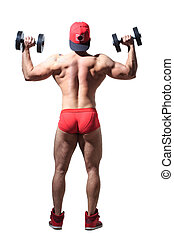 Muscular bodybuilder guy doing exercises with dumbbells isolated over white. back