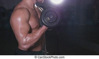 Muscular Bodybuilder Guy Doing Exercises With Dumbbells Over...