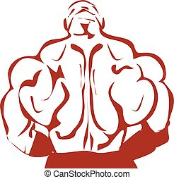 Muscular bodybuilder in a gym. Illustration